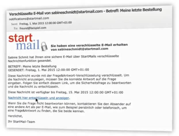 Sie erhalten StartMail mit einem Link