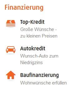 Screenshot Norisbank: Angebotene Kredite