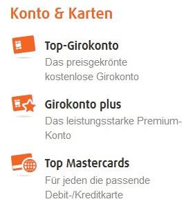 Screenshot Norisbank: Angebotene Konten und Karten.